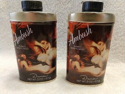 Four Vintage Ambush by Dana fragrances;2 shaker bath powder 2 oz NOS;2 testers