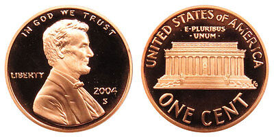 2004 S GEM BU PROOF Lincoln Memorial BRILLIANT UNCIRCULATED PENNY US COIN PF