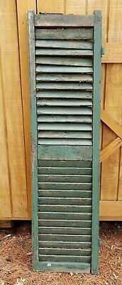 """Antique Green Wood Shutter from House in Maine  13 3/8"""" x 50 5/8""""   C"""