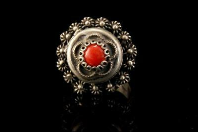 Antique Victorian Coral Sterling Locket Poison Adjustable Ring A88740