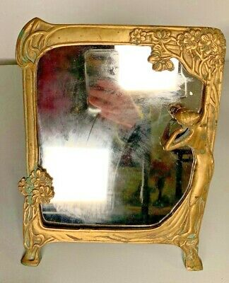 Vintage Art Deco Art Nouveau Brass Finish Mirror with Lady Looking in Mirror