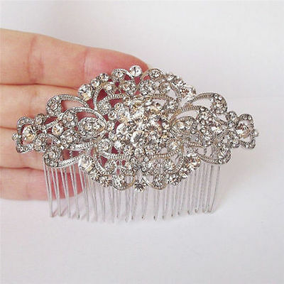 Wedding women hair bride Accessories Silver Comb piece Clip Pin Bridal crystal