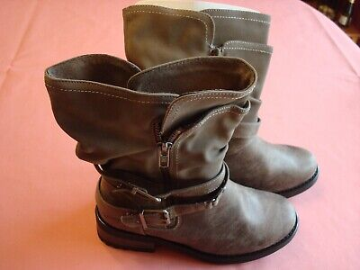 59567213ce34 Torrid Grey Strappy Slouch Moto Boots size 8W (Wide Width   Wide Calf) NEW