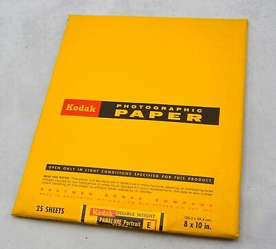 "Kodak Photograhic Paper 25 shts 8x10"" PANALURE Portrait E, DoubleWeight, SEALED"
