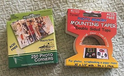 LOT Pioneer Photo Corners Self Adhesive Clear & Mounting Tape - Scrapbooking