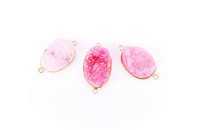 "1 PINK DRUZY Gemstone Connector Link, Gold Plated Bezel, 1.5"" long, gdz0003"