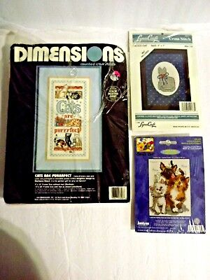 3 Cats Counted Cross Stitch Kits, CATS ARE PURRRFECT, Calico Cat, Cattails of Du