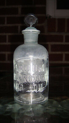 Vintage Embossed Apothecary Lab Bottle with Glass Stopper Sodium Hydroxide NaOH