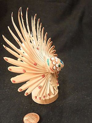 Antique Japanese Toy Folk Art MINGEI PEACOCK Woodcarving wood carved WHITTLING