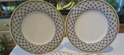 "2 DINNER PLATES 10⅝"" VILLEROY & BOCH V&B AUDUN PROMENADE BLACK & YELLOW Germany"