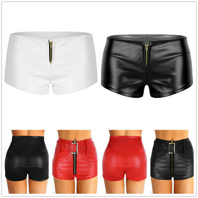 Women Zipper Clubwear Hot Pants Low Waist Faux Leather Bodycon Shorts Mini Pants