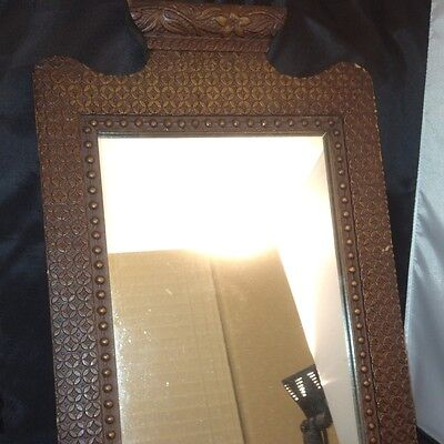 "Antique Primitive Handcarved Wood Mirror Beautiful VERY RARE 18""x12.5 Tramp Folk"