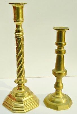 Vintage Tall HEAVY Pair BRASS Colonial Candlestick Candle Holders Base SABBATH