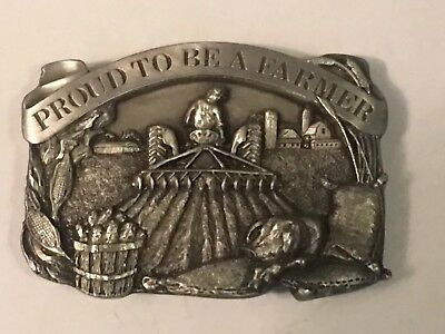 Vintage 1984 Siskiyou Proud To Be A Farmer Belt Buckle Pewter Tractor Pig Corn