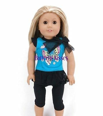 Butterfly Capri Legging Set 18 in Doll Clothes Fits American Girl Doll