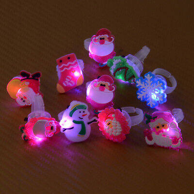 10pcs Cartoon Light Up LED Flashing Finger Rings Glowing Party Kids Toys
