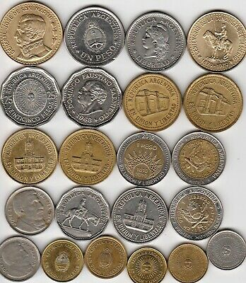 22 different world coins from ARGENTINA