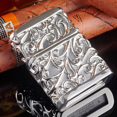 Jacket Silver Japanese Hollow Rich Flower Zippo Lighter - AU STOCK