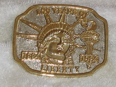 Belt Buckle. Larger Gold And Silver Design Collectible 1884-1984 USA Liberty
