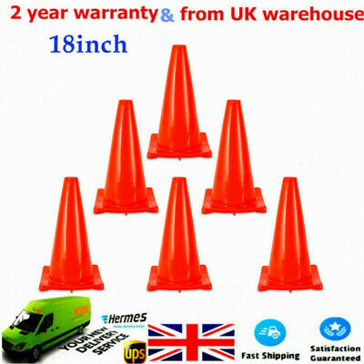 """6x 18"""" (457MM) Traffic Cones Parking Safety Road Cone Barrier Fluorescent HOT"""