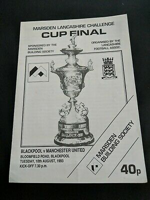 Football programme MAN MANCHESTER UNITED UNT v BLACKPOOL CUP FINAL 1993