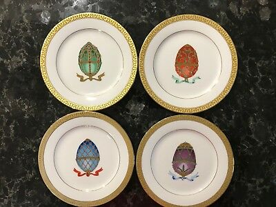 Gold Buffet Royal Gallery Faberge Egg Salad Desert Plates Set Of 4 NOS 1991