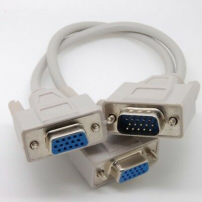 2way//Port SVGA//VGA Splitter//Y//T for Monitor//TV Cable//Cord,1Male 2Female$SHdisc{W