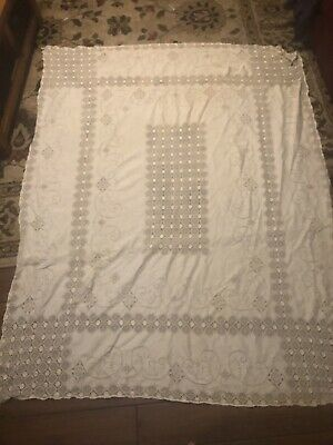 """Heavy Quaker Lace Rectangular Ivory Off White Tablecloth 76"""" X 60"""