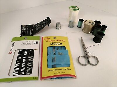 Sewing Kit: 75 Needles (many SInger), 6 spools thread, 2 thimbles, small scissor