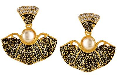 Antique Ethnic Gypsy Tribal Indian Oxidized Gold Floral Dangle Earrings Jewelry