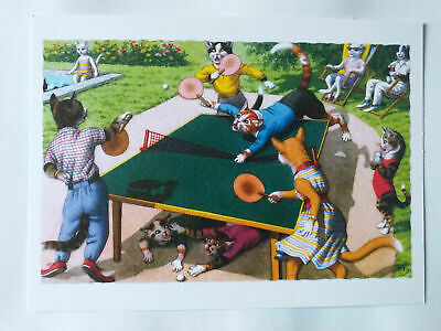 Carte Postale Delightfully Dressed Cats Eugen Hartung Tennis De Table Chat
