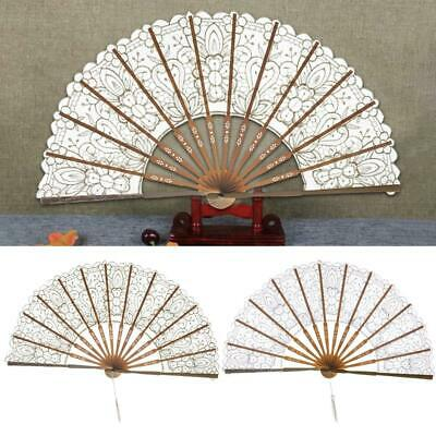 Folding Hollow Lace Fan Antique Style Bamboo Craft Decorative Fan Photo Prop
