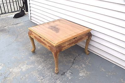 Vintage Carved Wood Coffee Kang Chinese Table with drawers