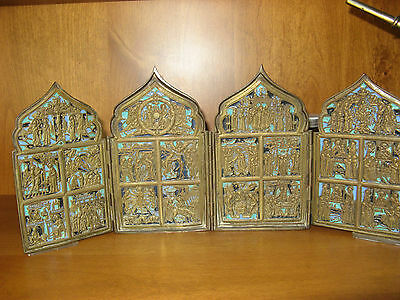 Large Antique Russian Four Fold Bronze Enameled Icon Skladen