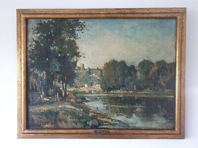 Early 20th Century Large French Impressionist Landscape Oil Painting (Dordogne?)