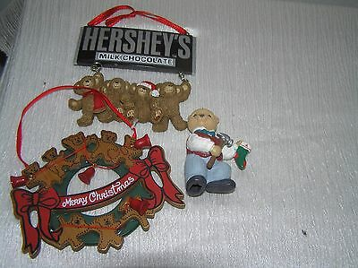 Lot of 3 Hallmark 1993 Teddy Bear w Hammer Kurt S. Adler Wood & HERSHEY'S Choco