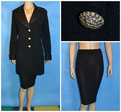 St John Evening Knit Black Jacket Skirt L 12 14 2pc Suit Rhinestones Satin Trims