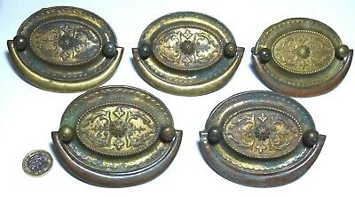 Elegant Set X 5 Brass Antique Chest/Drawer/Door Pull Handles Early Victorian