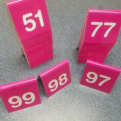 Table Tent Numbers Pink Restaurant Durable 51-99
