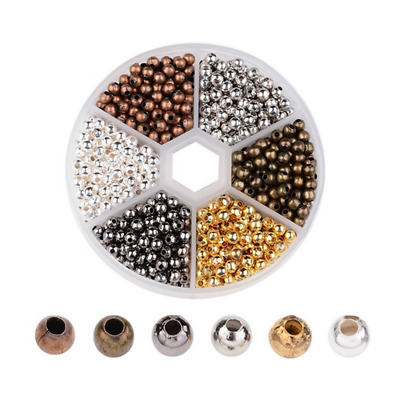 Wholesale Metal Round Spacer Beads Hole Crafts Jewelry DIY 3MM 4MM 5MM