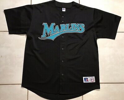 7411a71dd17 Rare Vintage RUSSELL Florida Marlins MLB STITCHED BLACK Jersey Men s XL