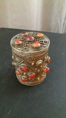 Antique  Brass Bronze Trinket box.Egyptian .hundred yers old.high clarity stones