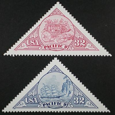 SCOTT # 3130 & 3131 -  PACIFIC 97 ONE PINK & ONE BLUE 32c STAMP - OG - NH - MINT
