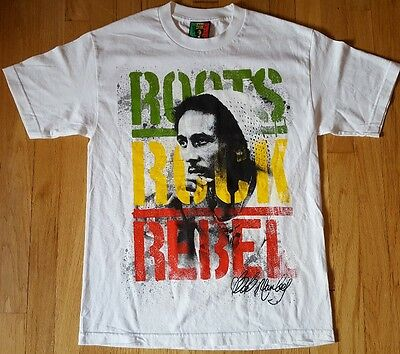 Roots Rock Rebel BOB MARLEY shirt M white reggae Jamaica zion wear one love