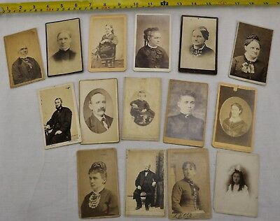 Collection of 15 antique Victorian photos / portraits, some identified (BI#BX73)