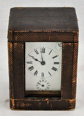 "Antique French Carriage clock with Original Leather Case 5"" x 3 ¼ (BI#MK/181206)"