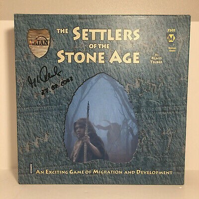 AUTOGRAPHED CIB Catan Settlers of the Stoneage SIGNED Board Game Klaus Teuber