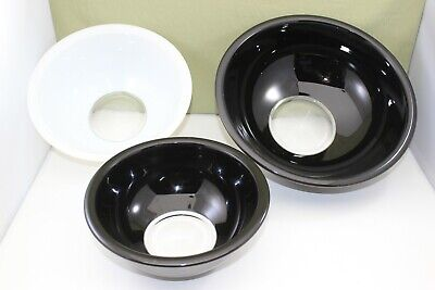 Pyrex 3 Piece Black / White Over Clear Glass Nested Bowl Set #s 323, 325, 326