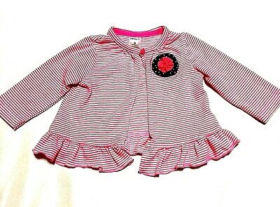 Baby Girls Carters 6 Months Pink Stripe Cardigan Sweater Ruffle 6 Mos