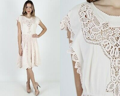 Vintage 80s Pink Crochet Dress Sheer Floral Lace Embroidered Boho Wedding Mini